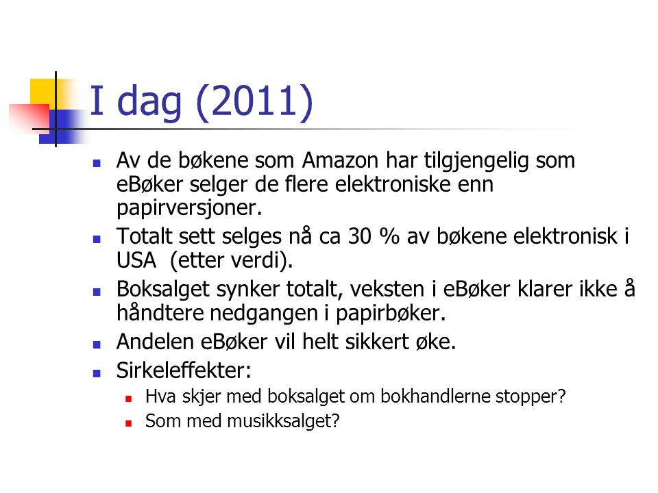 I dag (2011) Av de bøkene som Amazon har tilgjengelig som eBøker selger de flere elektroniske enn papirversjoner.