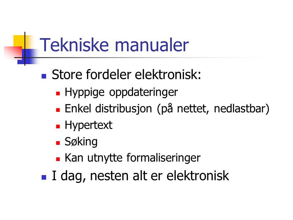Tekniske manualer Store fordeler elektronisk: Hyppige oppdateringer Enkel distribusjon (på nettet, nedlastbar) Hypertext Søking Kan utnytte formaliseringer I dag, nesten alt er elektronisk
