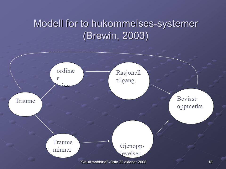 18 Skjult mobbing - Oslo 22.oktober 2008 Modell for to hukommelses-systemer (Brewin, 2003) Traume ordinæ r minner Rasjonell tilgang Traume minner Bevisst oppmerks.