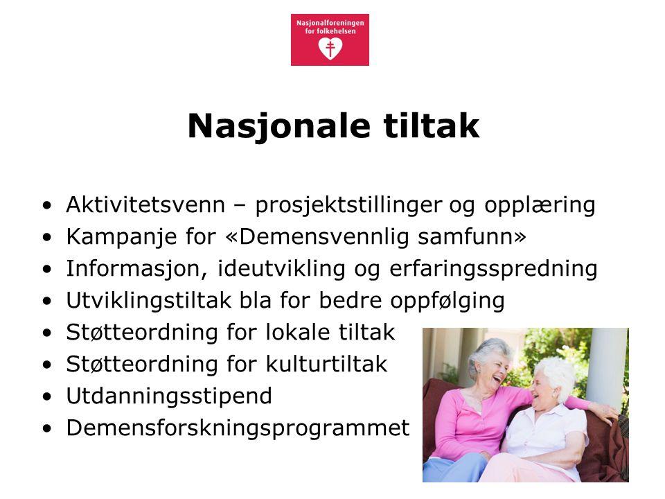 Nasjonale tiltak Aktivitetsvenn – prosjektstillinger og opplæring Kampanje for «Demensvennlig samfunn» Informasjon, ideutvikling og erfaringsspredning Utviklingstiltak bla for bedre oppfølging Støtteordning for lokale tiltak Støtteordning for kulturtiltak Utdanningsstipend Demensforskningsprogrammet