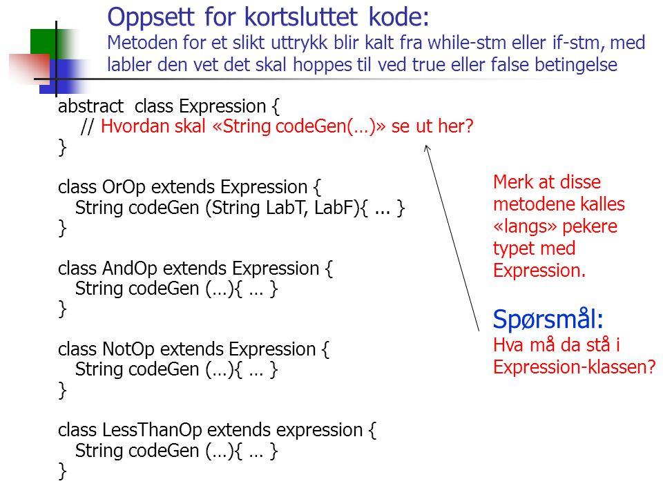 Oppsett for kortsluttet kode: Metoden for et slikt uttrykk blir kalt fra while-stm eller if-stm, med labler den vet det skal hoppes til ved true eller false betingelse abstract class Expression { // Hvordan skal «String codeGen(…)» se ut her.