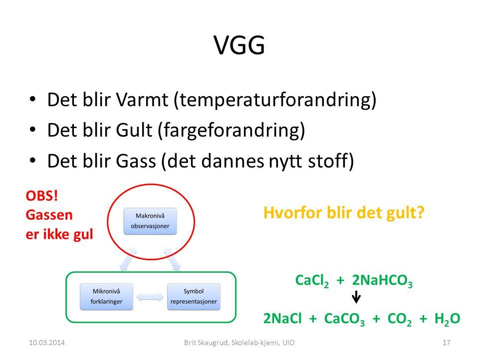 VGG Det blir Varmt (temperaturforandring) Det blir Gult (fargeforandring) Det blir Gass (det dannes nytt stoff) 10.03.2014Brit Skaugrud, Skolelab-kjemi, UiO17 OBS.