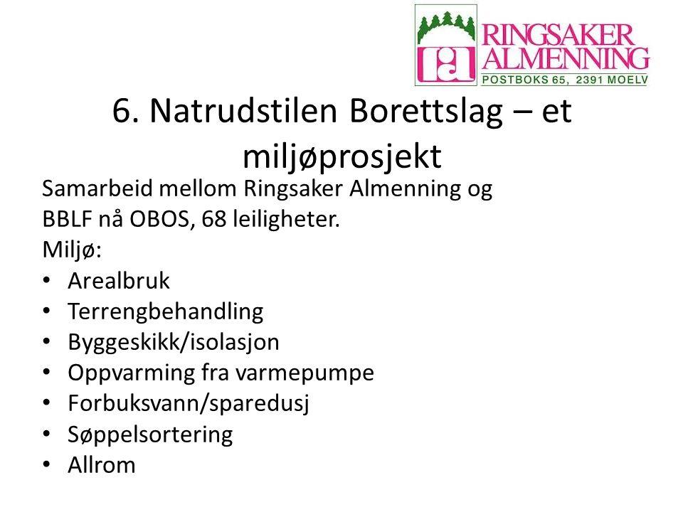 6. Natrudstilen Borettslag – et miljøprosjekt Samarbeid mellom Ringsaker Almenning og BBLF nå OBOS, 68 leiligheter. Miljø: Arealbruk Terrengbehandling