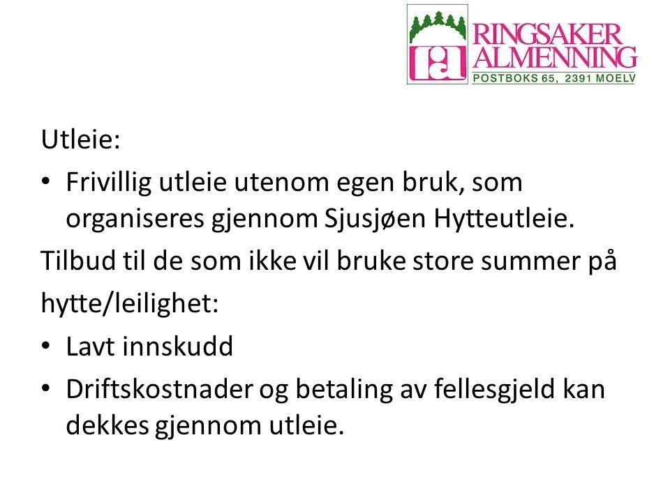Utleie: Frivillig utleie utenom egen bruk, som organiseres gjennom Sjusjøen Hytteutleie.