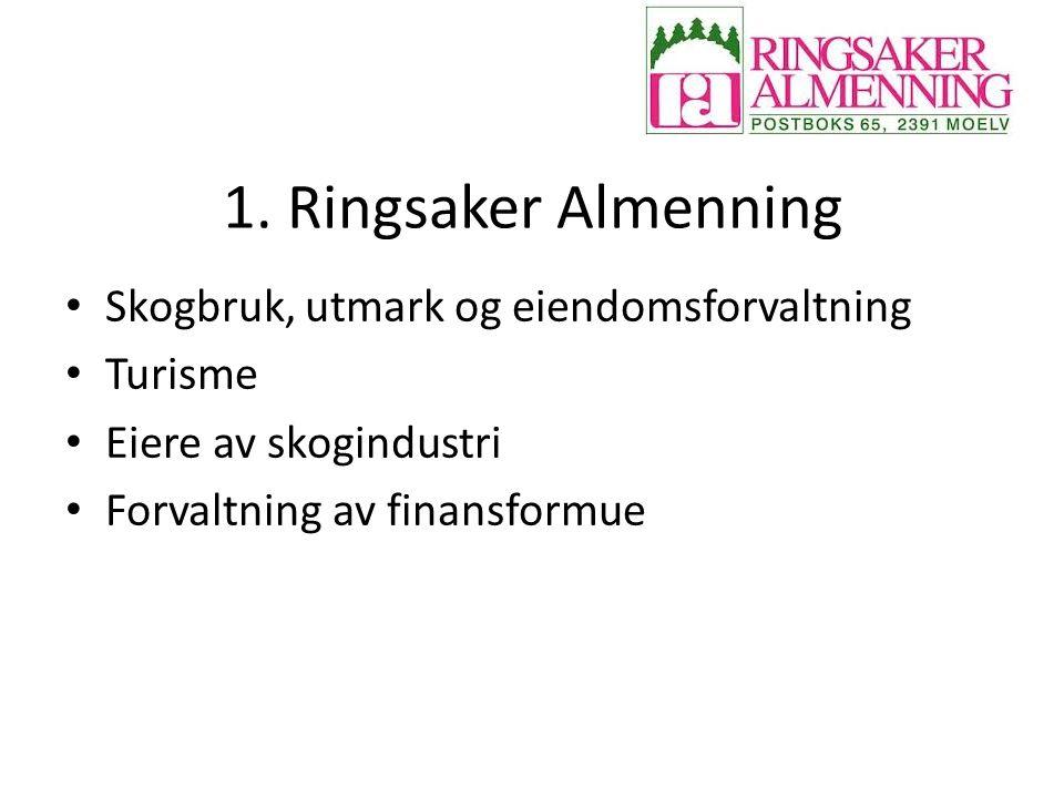 1. Ringsaker Almenning Skogbruk, utmark og eiendomsforvaltning Turisme Eiere av skogindustri Forvaltning av finansformue
