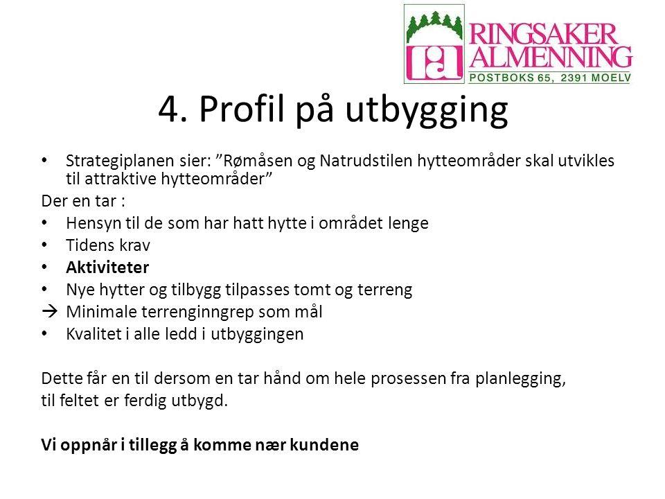 """4. Profil på utbygging Strategiplanen sier: """"Rømåsen og Natrudstilen hytteområder skal utvikles til attraktive hytteområder"""" Der en tar : Hensyn til d"""