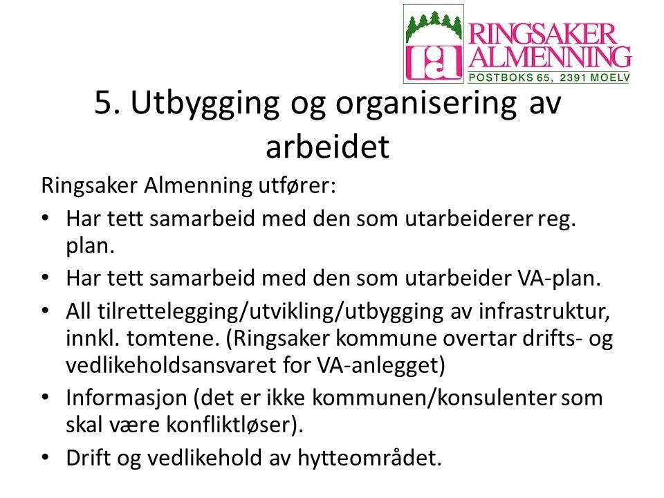 5. Utbygging og organisering av arbeidet Ringsaker Almenning utfører: Har tett samarbeid med den som utarbeiderer reg. plan. Har tett samarbeid med de