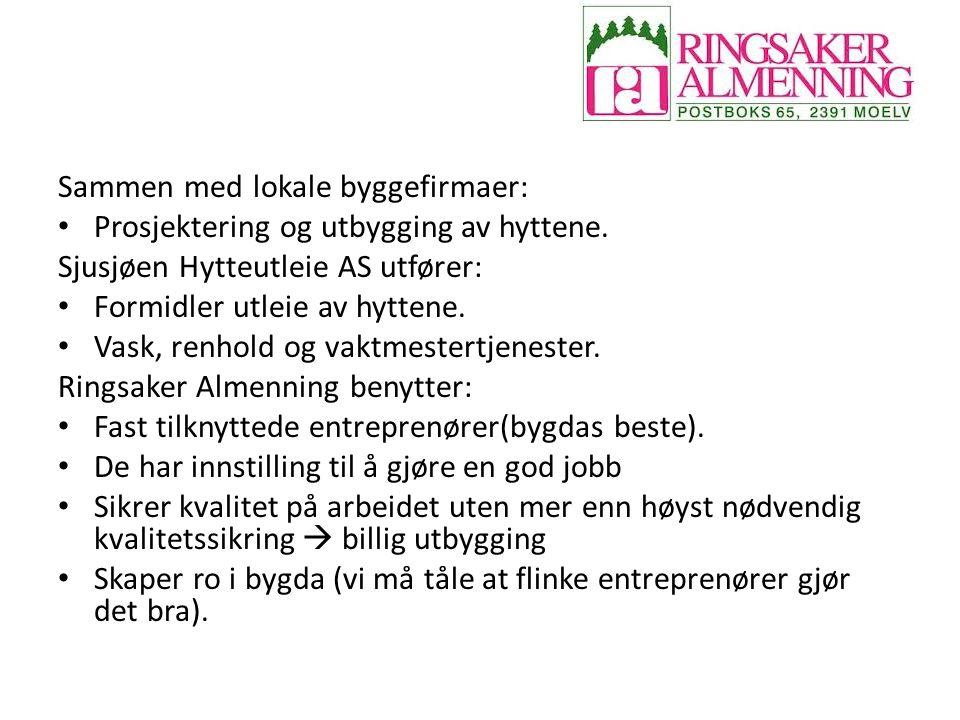 Sammen med lokale byggefirmaer: Prosjektering og utbygging av hyttene. Sjusjøen Hytteutleie AS utfører: Formidler utleie av hyttene. Vask, renhold og