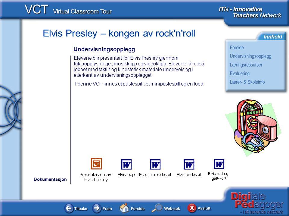 Elvis Presley – kongen av rock'n'roll Elevene blir presentert for Elvis Presley gjennom faktaopplysninger, musikklipp og videoklipp. Elevene får også