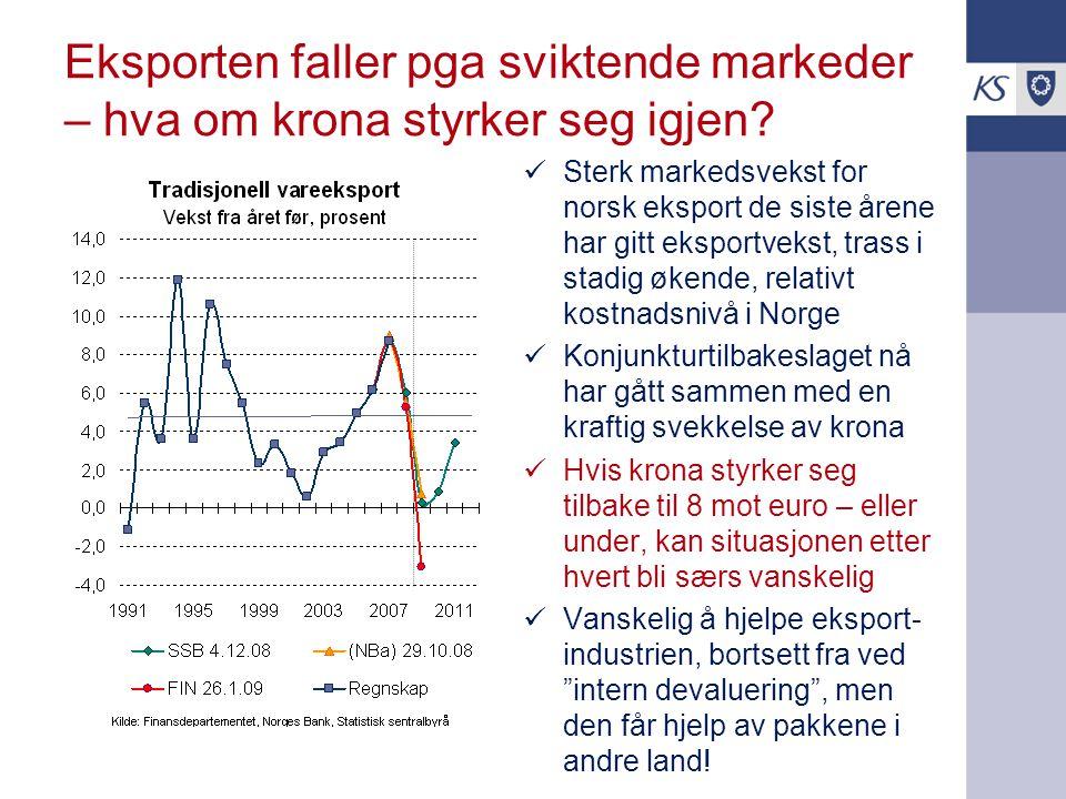 Eksporten faller pga sviktende markeder – hva om krona styrker seg igjen? Sterk markedsvekst for norsk eksport de siste årene har gitt eksportvekst, t
