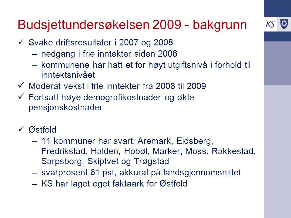 Budsjettundersøkelsen 2009 - bakgrunn Svake driftsresultater i 2007 og 2008 –nedgang i frie inntekter siden 2006 –kommunene har hatt et for høyt utgif