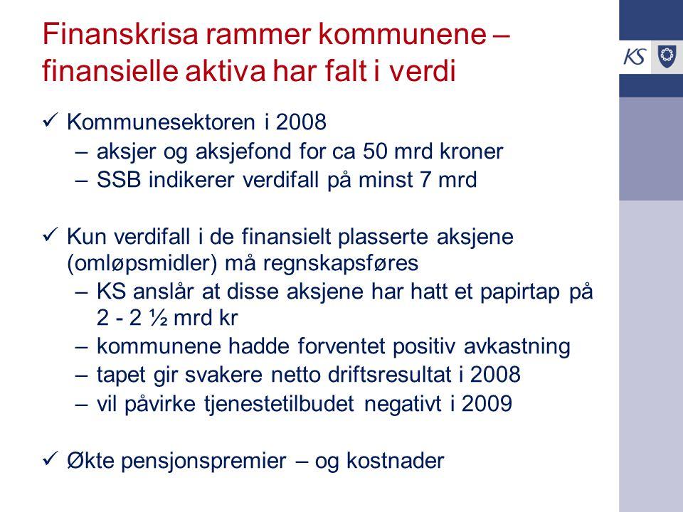 Finanskrisa rammer kommunene – finansielle aktiva har falt i verdi Kommunesektoren i 2008 –aksjer og aksjefond for ca 50 mrd kroner –SSB indikerer ver