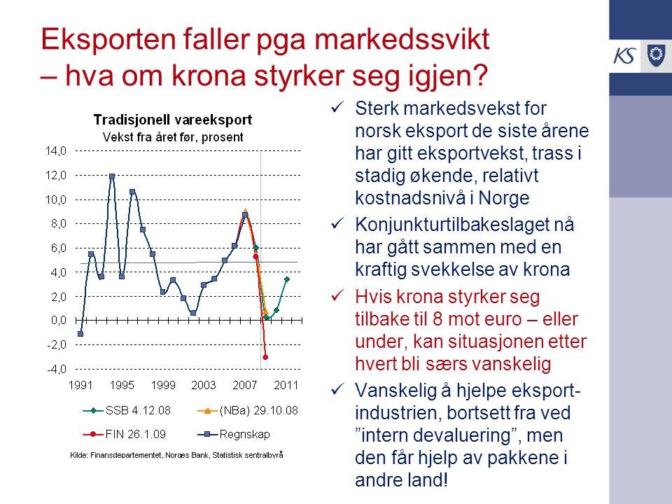 Eksporten faller pga markedssvikt – hva om krona styrker seg igjen? Sterk markedsvekst for norsk eksport de siste årene har gitt eksportvekst, trass i