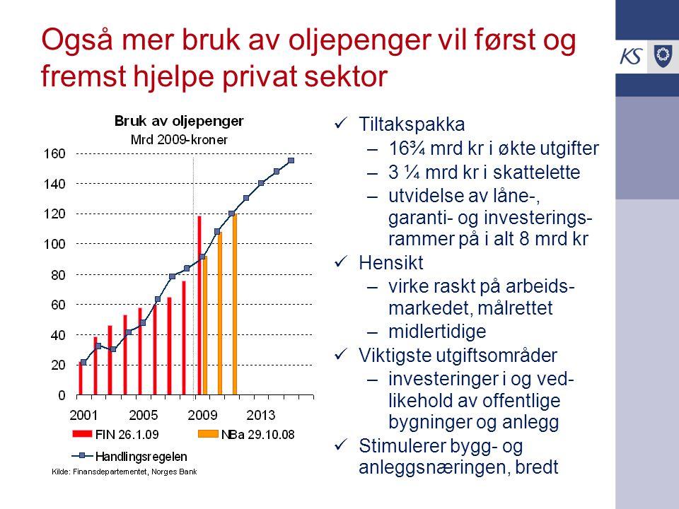 Også mer bruk av oljepenger vil først og fremst hjelpe privat sektor Tiltakspakka –16¾ mrd kr i økte utgifter –3 ¼ mrd kr i skattelette –utvidelse av