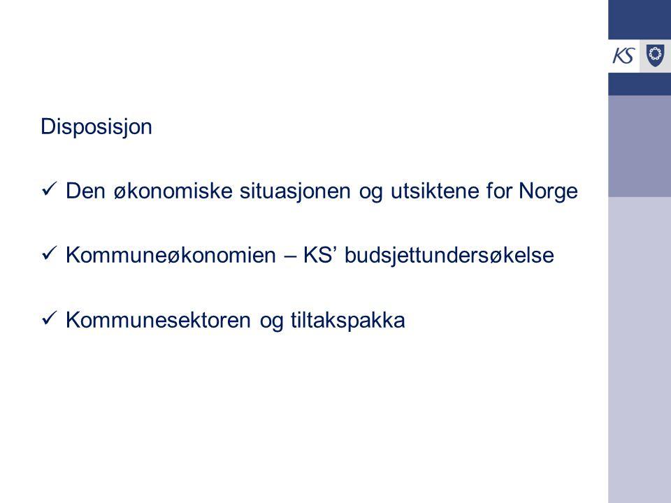 Disposisjon Den økonomiske situasjonen og utsiktene for Norge Kommuneøkonomien – KS' budsjettundersøkelse Kommunesektoren og tiltakspakka