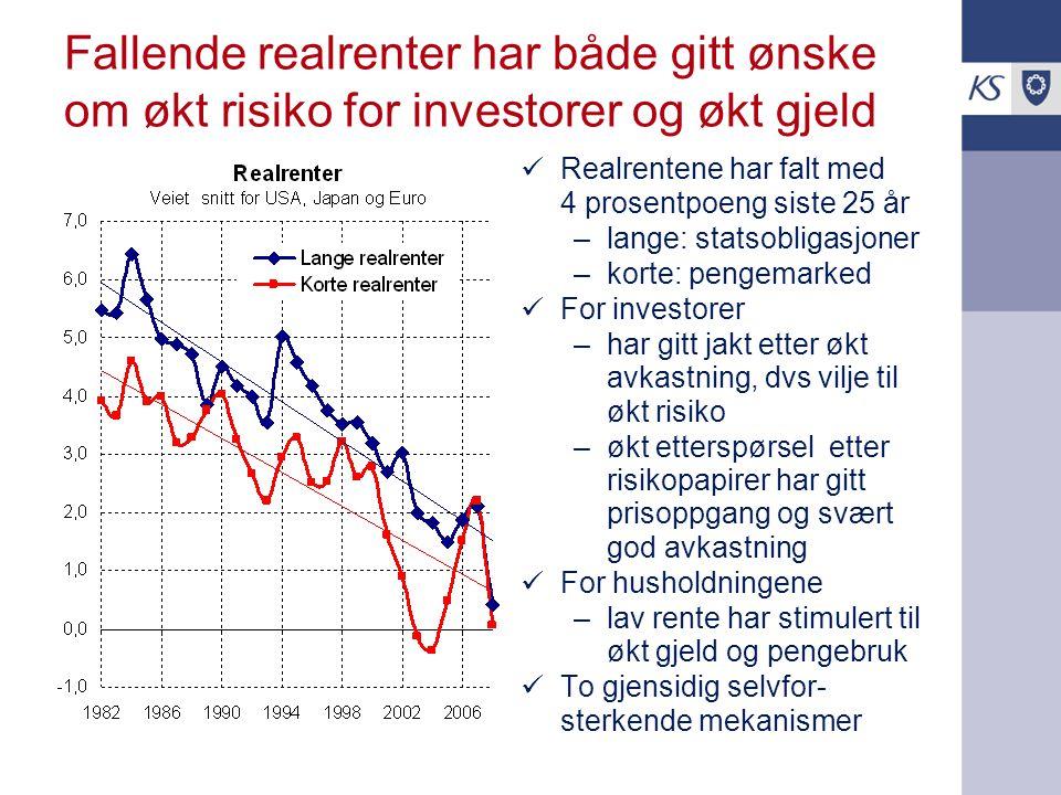 Fallende realrenter har både gitt ønske om økt risiko for investorer og økt gjeld Realrentene har falt med 4 prosentpoeng siste 25 år –lange: statsobl