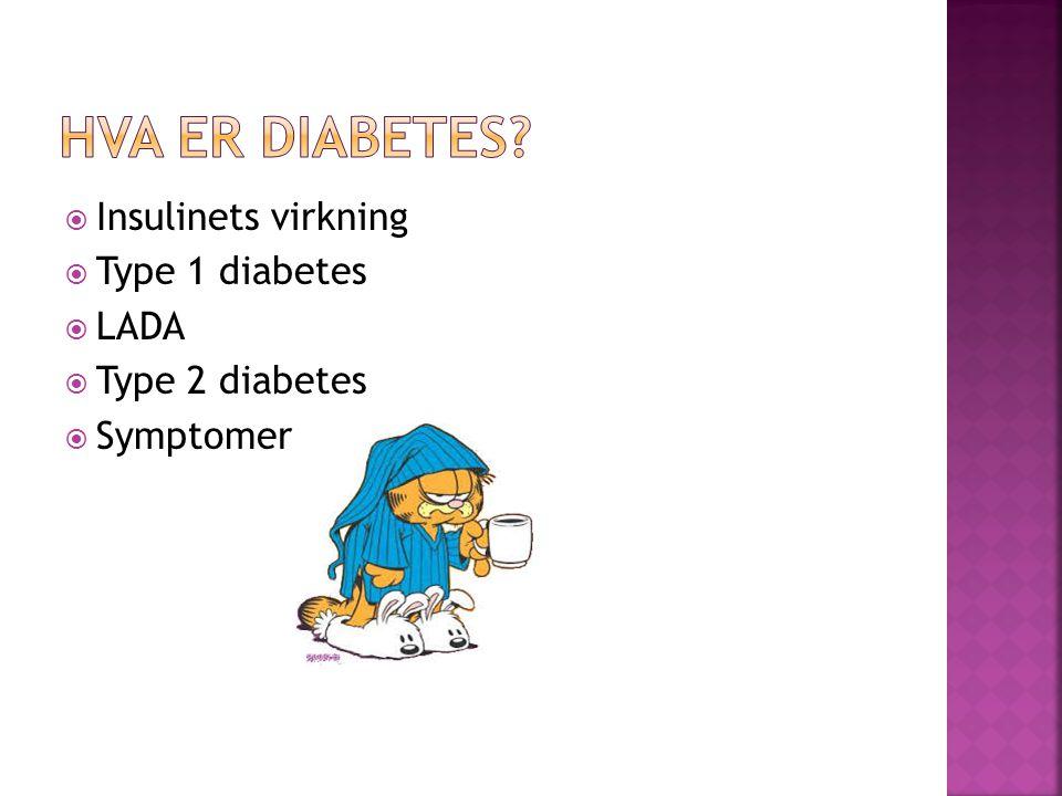  Insulinets virkning  Type 1 diabetes  LADA  Type 2 diabetes  Symptomer
