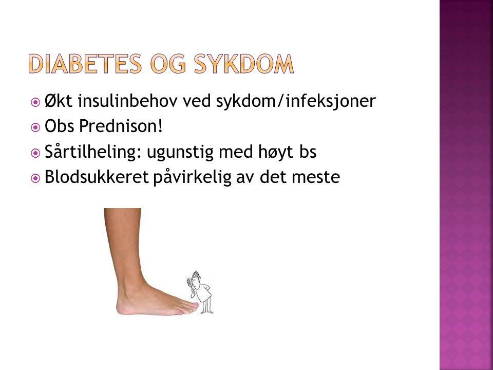  Økt insulinbehov ved sykdom/infeksjoner  Obs Prednison.
