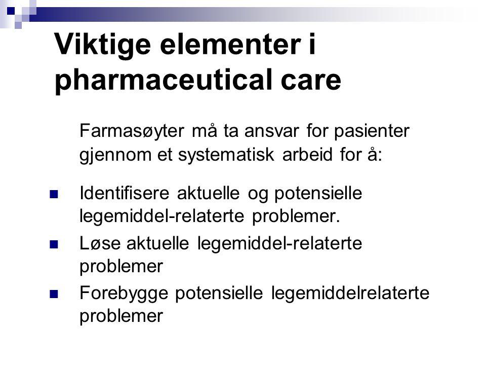 Viktige elementer i pharmaceutical care Farmasøyter må ta ansvar for pasienter gjennom et systematisk arbeid for å: Identifisere aktuelle og potensiel