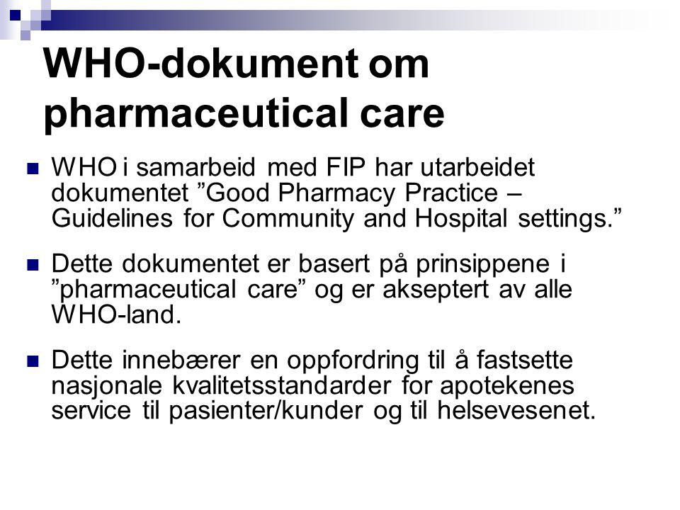 """WHO-dokument om pharmaceutical care WHO i samarbeid med FIP har utarbeidet dokumentet """"Good Pharmacy Practice – Guidelines for Community and Hospital"""