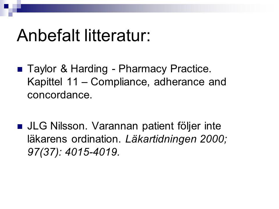 Anbefalt litteratur: Taylor & Harding - Pharmacy Practice. Kapittel 11 – Compliance, adherance and concordance. JLG Nilsson. Varannan patient följer i