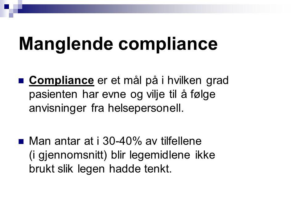 Manglende compliance Compliance er et mål på i hvilken grad pasienten har evne og vilje til å følge anvisninger fra helsepersonell. Man antar at i 30-