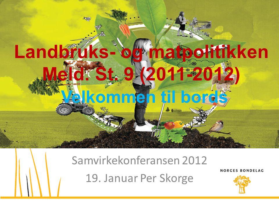 Foreløpig uttalelse fra Norges Bondelag Samvirkekonferansen 2012 19. Januar Per Skorge Landbruks- og matpolitikken Meld. St. 9 (2011-2012) Velkommen t