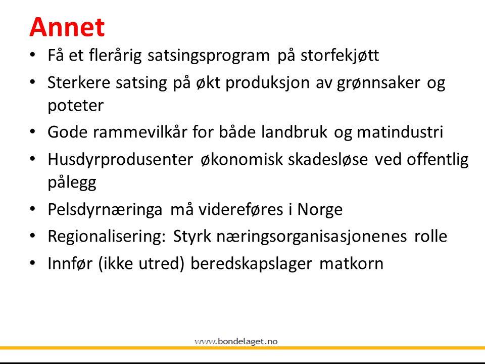 Annet Få et flerårig satsingsprogram på storfekjøtt Sterkere satsing på økt produksjon av grønnsaker og poteter Gode rammevilkår for både landbruk og matindustri Husdyrprodusenter økonomisk skadesløse ved offentlig pålegg Pelsdyrnæringa må videreføres i Norge Regionalisering: Styrk næringsorganisasjonenes rolle Innfør (ikke utred) beredskapslager matkorn