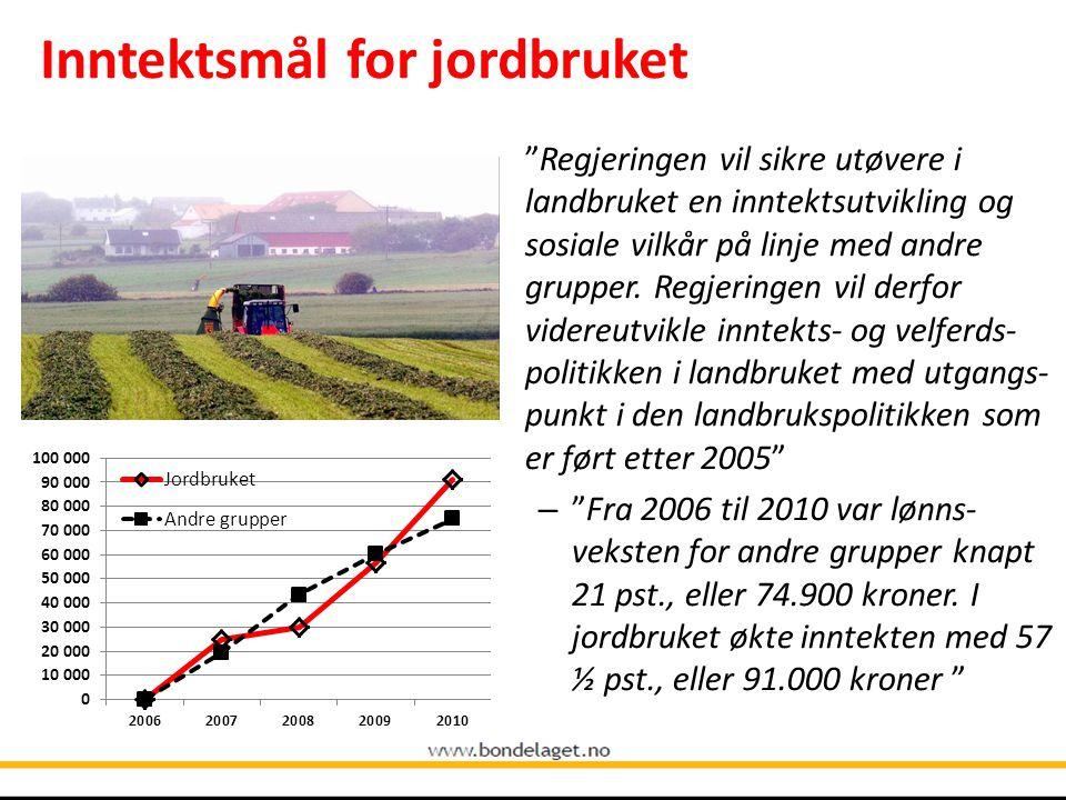 Inntektsmål for jordbruket Regjeringen vil sikre utøvere i landbruket en inntektsutvikling og sosiale vilkår på linje med andre grupper.