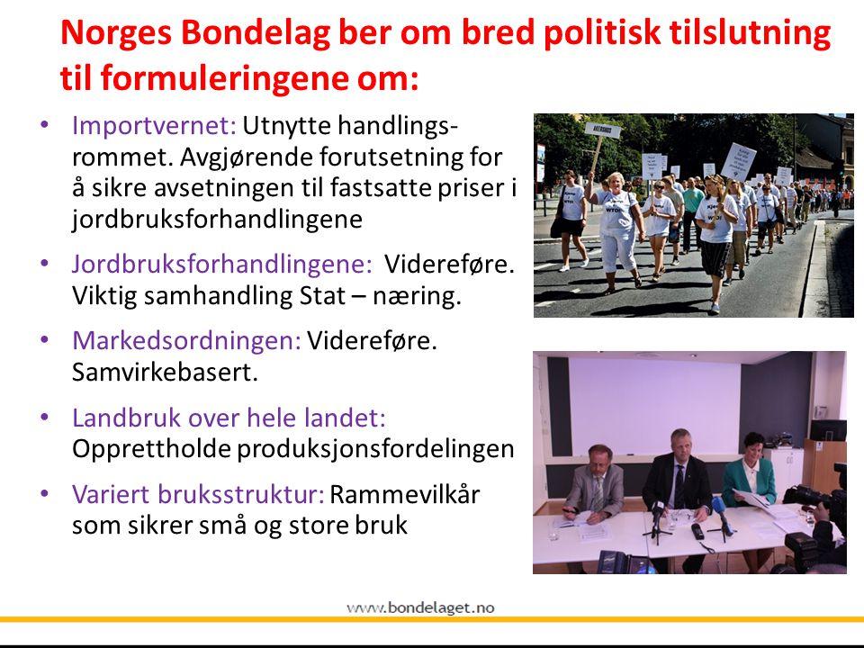 Norges Bondelag ber om bred politisk tilslutning til formuleringene om: Importvernet: Utnytte handlings- rommet. Avgjørende forutsetning for å sikre a