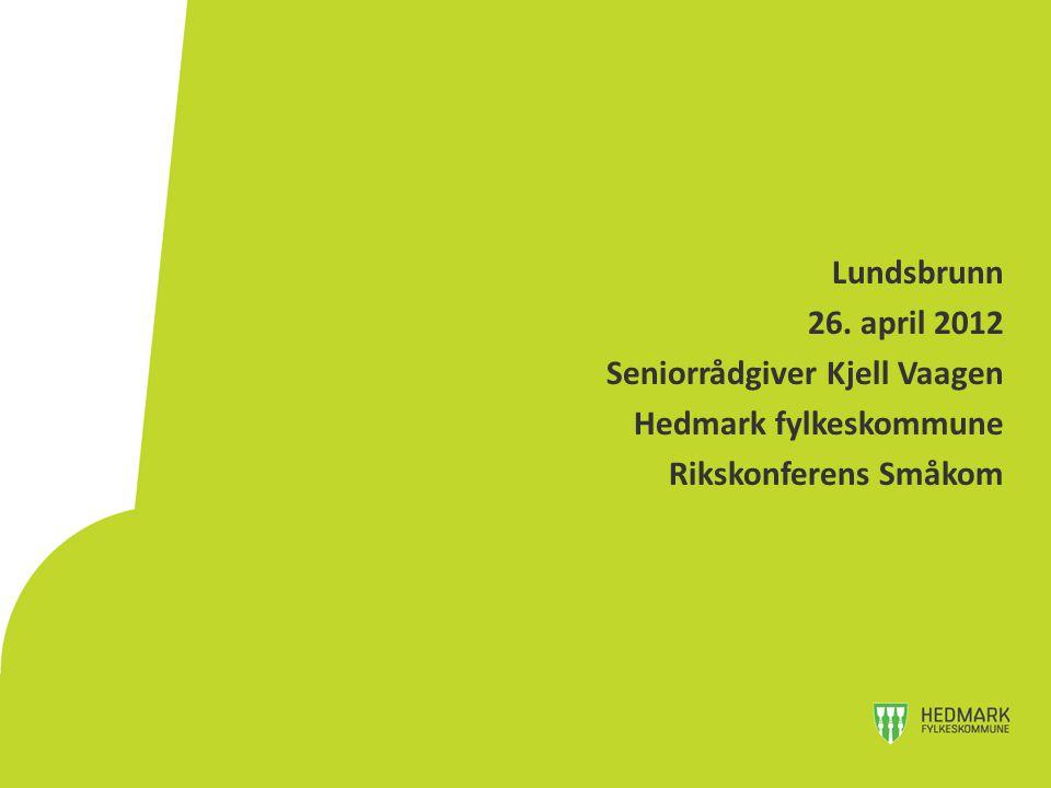 Lundsbrunn 26. april 2012 Seniorrådgiver Kjell Vaagen Hedmark fylkeskommune Rikskonferens Småkom