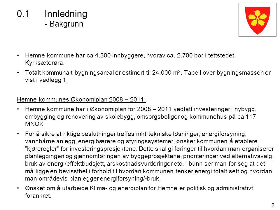 3 Hemne kommune har ca 4.300 innbyggere, hvorav ca. 2.700 bor i tettstedet Kyrksæterøra. Totalt kommunalt bygningsareal er estimert til 24.000 m 2. Ta