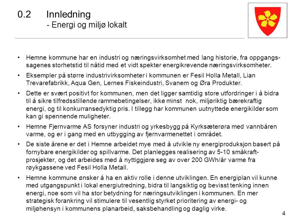 4 0.2Innledning - Energi og miljø lokalt Hemne kommune har en industri og næringsvirksomhet med lang historie, fra oppgangs- sagenes storhetstid til n