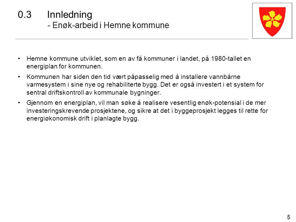 5 0.3Innledning - Enøk-arbeid i Hemne kommune Hemne kommune utviklet, som en av få kommuner i landet, på 1980-tallet en energiplan for kommunen. Kommu
