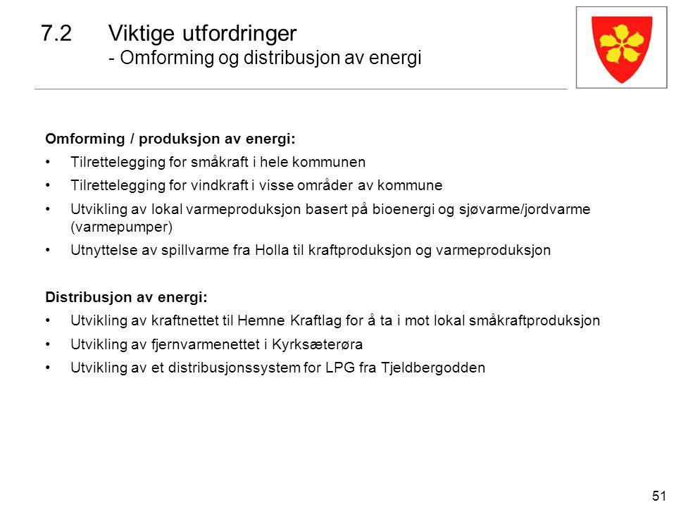 51 7.2Viktige utfordringer - Omforming og distribusjon av energi Omforming / produksjon av energi: Tilrettelegging for småkraft i hele kommunen Tilret