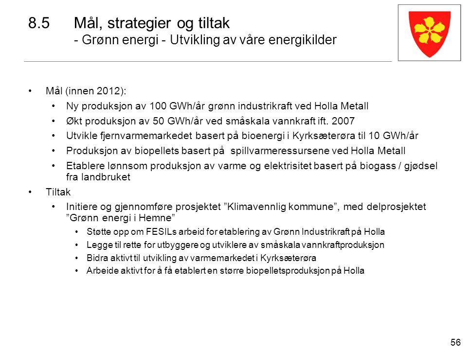 56 Mål (innen 2012): Ny produksjon av 100 GWh/år grønn industrikraft ved Holla Metall Økt produksjon av 50 GWh/år ved småskala vannkraft ift. 2007 Utv
