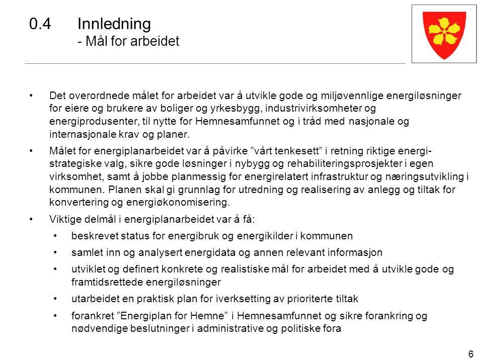6 0.4 Innledning - Mål for arbeidet Det overordnede målet for arbeidet var å utvikle gode og miljøvennlige energiløsninger for eiere og brukere av bol