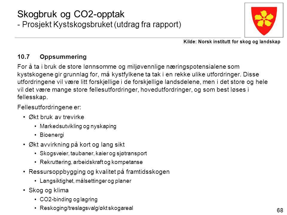 68 Skogbruk og CO2-opptak - Prosjekt Kystskogsbruket (utdrag fra rapport) 10.7 Oppsummering For å ta i bruk de store lønnsomme og miljøvennlige næring