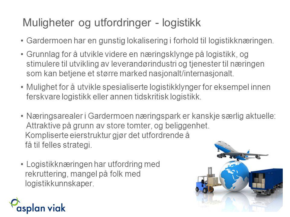 Muligheter og utfordringer - logistikk Gardermoen har en gunstig lokalisering i forhold til logistikknæringen.