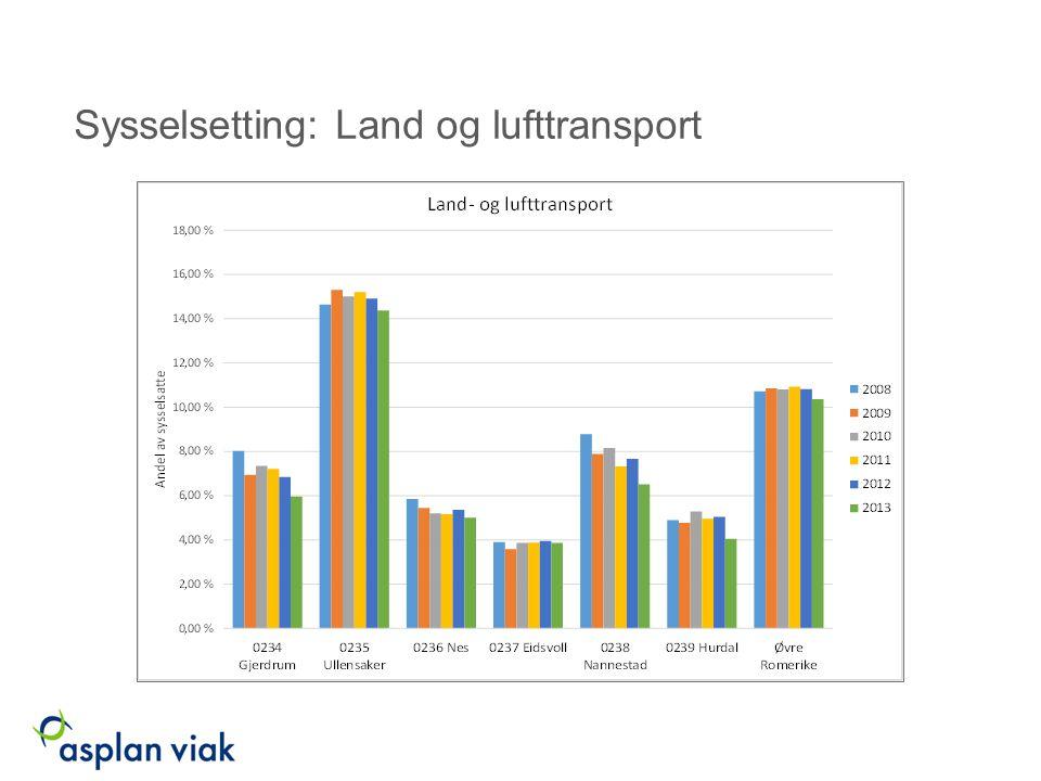 Sysselsetting: Lager og tjenester til transport