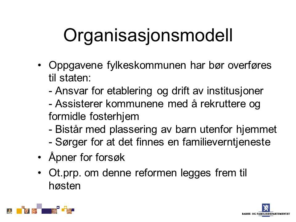 Organisasjonsmodell Oppgavene fylkeskommunen har bør overføres til staten: - Ansvar for etablering og drift av institusjoner - Assisterer kommunene me