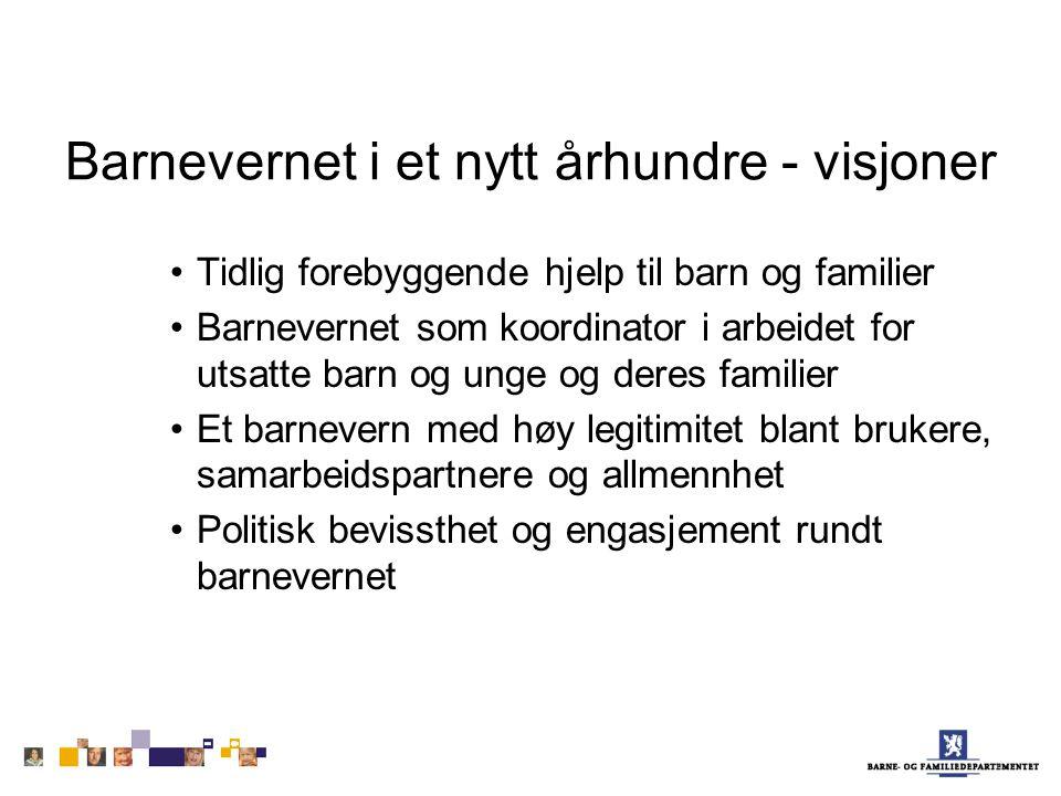 Barnevernet i et nytt århundre - visjoner Tidlig forebyggende hjelp til barn og familier Barnevernet som koordinator i arbeidet for utsatte barn og un