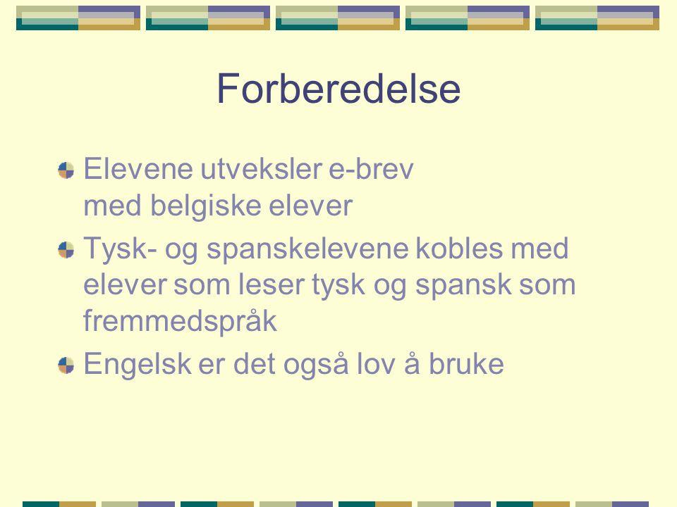 Forberedelse Elevene utveksler e-brev med belgiske elever Tysk- og spanskelevene kobles med elever som leser tysk og spansk som fremmedspråk Engelsk er det også lov å bruke