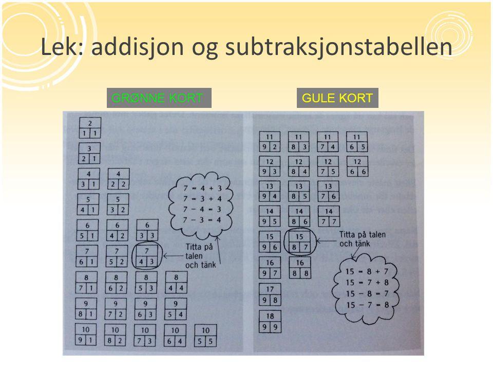 Lek: addisjon og subtraksjonstabellen GRØNNE KORTGULE KORT