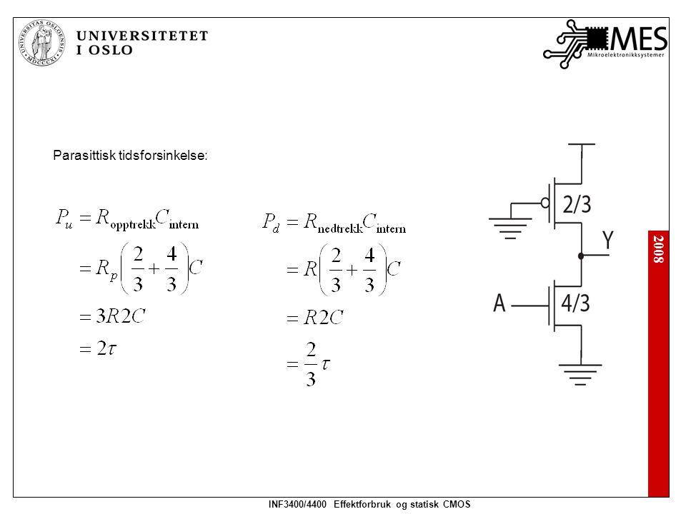 2008 INF3400/4400 Effektforbruk og statisk CMOS Pseudo nMOS NAND2 Motstand i opptrekk: Motstand i nedtrekk: Dimmensjonering: