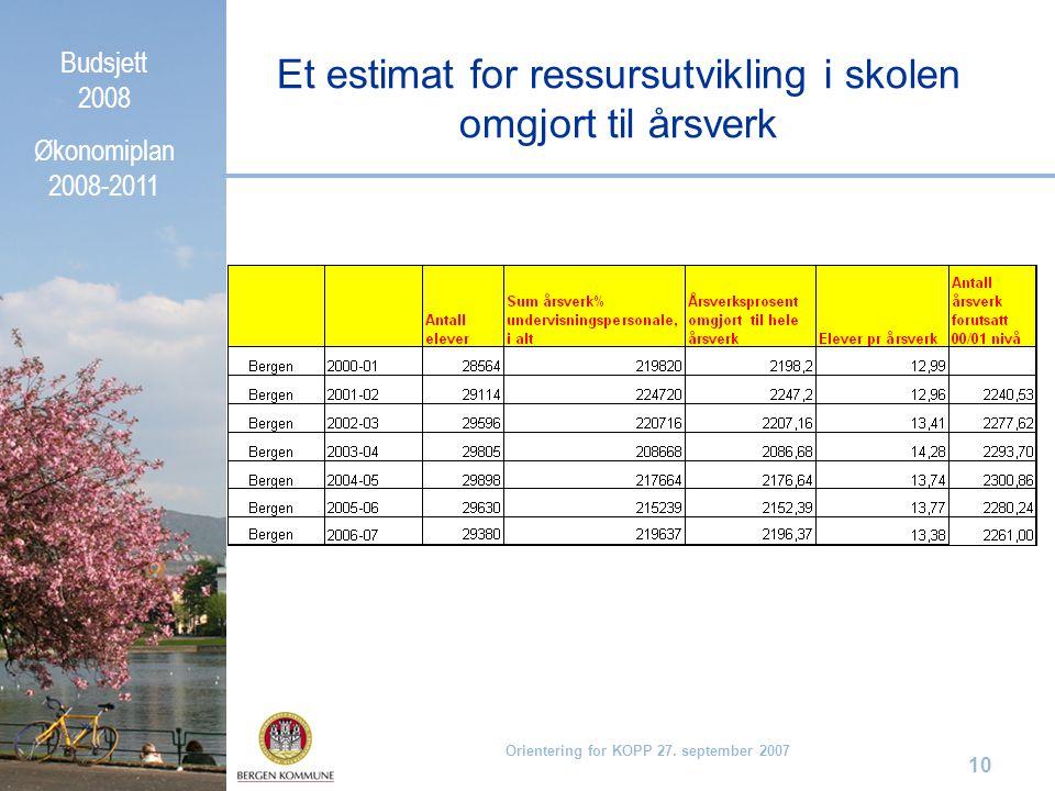 Budsjett 2008 Økonomiplan 2008-2011 Orientering for KOPP 27. september 2007 10 Et estimat for ressursutvikling i skolen omgjort til årsverk