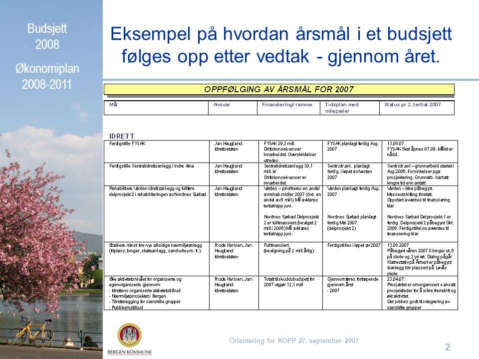 Budsjett 2008 Økonomiplan 2008-2011 Orientering for KOPP 27. september 2007 2 Eksempel på hvordan årsmål i et budsjett følges opp etter vedtak - gjenn