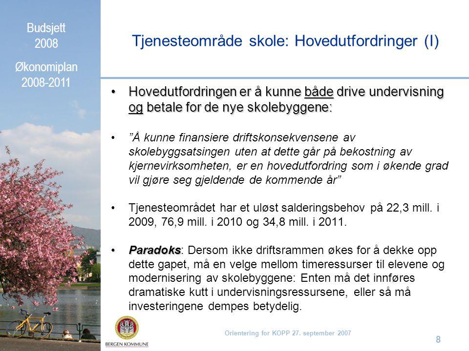 Budsjett 2008 Økonomiplan 2008-2011 Orientering for KOPP 27. september 2007 8 Hovedutfordringen er å kunne både drive undervisning og betale for de ny