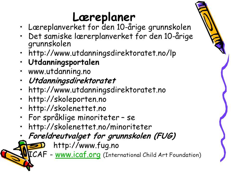 Læreplaner Læreplanverket for den 10-årige grunnskolen Det samiske lærerplanverket for den 10-årige grunnskolen http://www.utdanningsdirektoratet.no/lp Utdanningsportalen www.utdanning.no Utdanningsdirektoratet http://www.utdanningsdirektoratet.no http://skoleporten.no http://skolenettet.no For språklige minoriteter – se http://skolenettet.no/minoriteter Foreldreutvalget for grunnskolen (FUG) http://www.fug.no ICAF - www.icaf.org (International Child Art Foundation)www.icaf.org