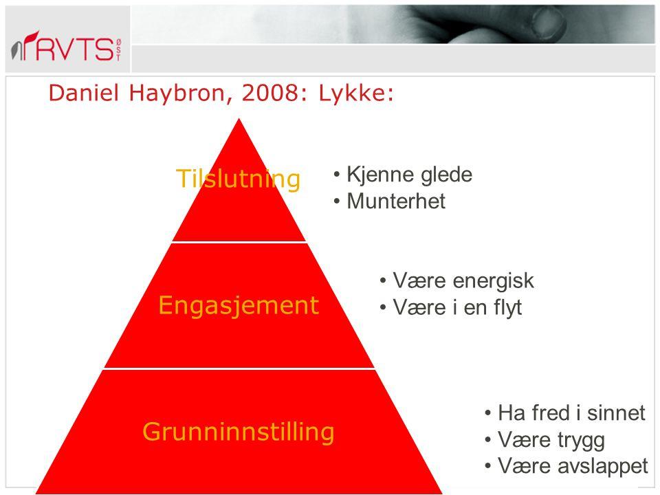 Tilslutning Engasjement Grunninnstilling Daniel Haybron, 2008: Lykke: Kjenne glede Munterhet Være energisk Være i en flyt Ha fred i sinnet Være trygg Være avslappet